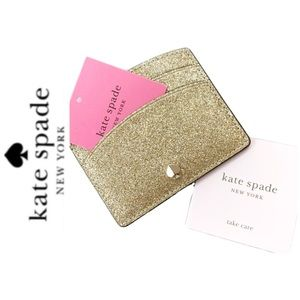 NWT Kate Spade glitter card wallet pale gold